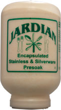 JARDIAN PRESOAK is an alkaline powder designed for use as a presoak for silverware and silver table service.